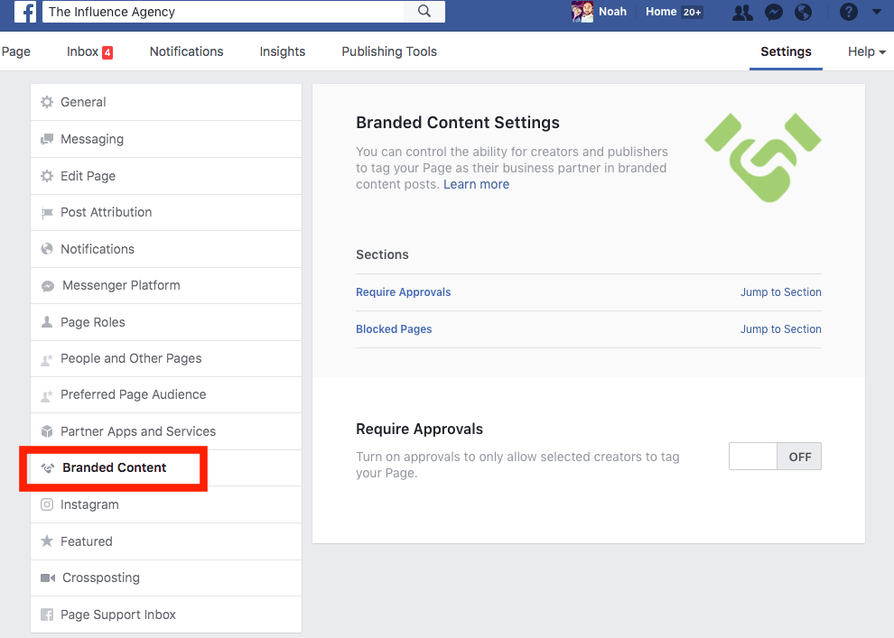 Facebook has enabled a function in a business' fanpage