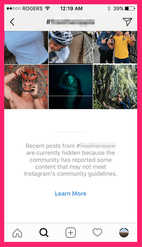 Banned Instagram hashtag search result