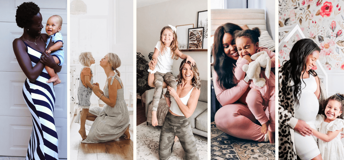 A collage of five Canadian mom influencers