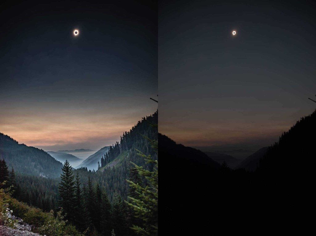 Photo of solar eclipse, left image well exposed RAW image, right image underexposed dark JPEG image.