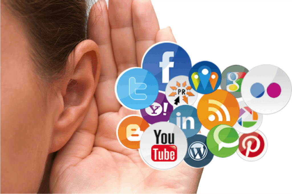 hand over ear - listening to social media accounts