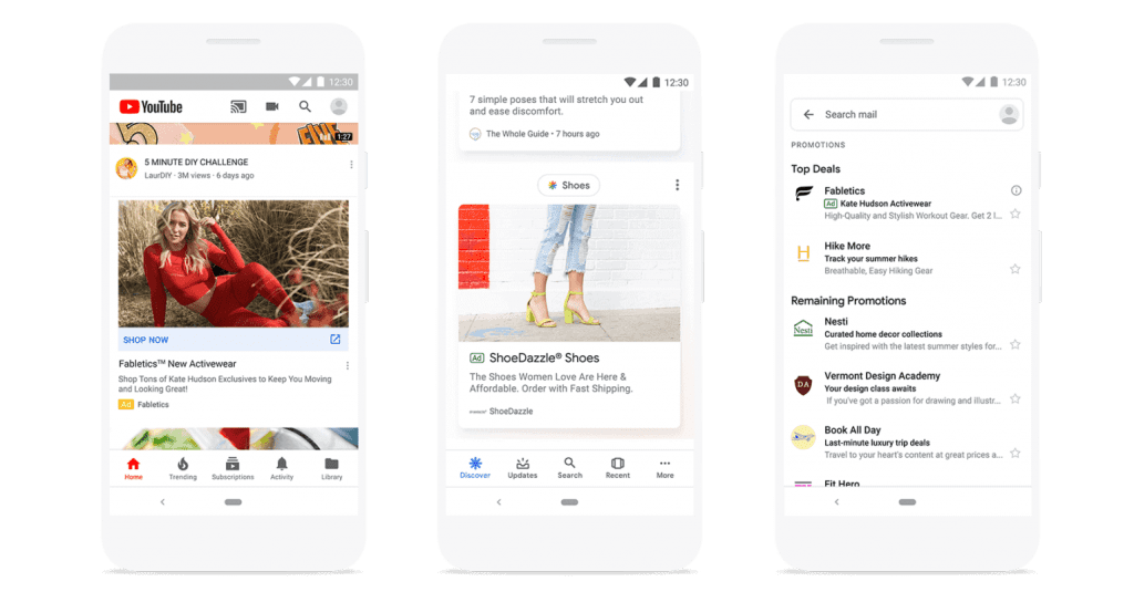 Surfaces across google for shopping ads