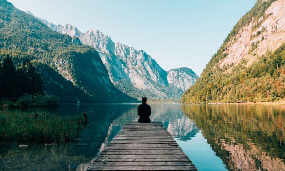 Man alone looking at nature