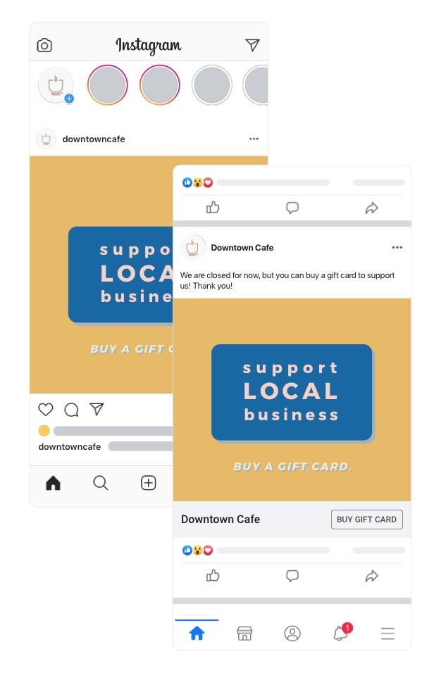 Screenshots of a business posting about their digital gift cards on Facebook and Instagram with a Buy Gift Card CTA.