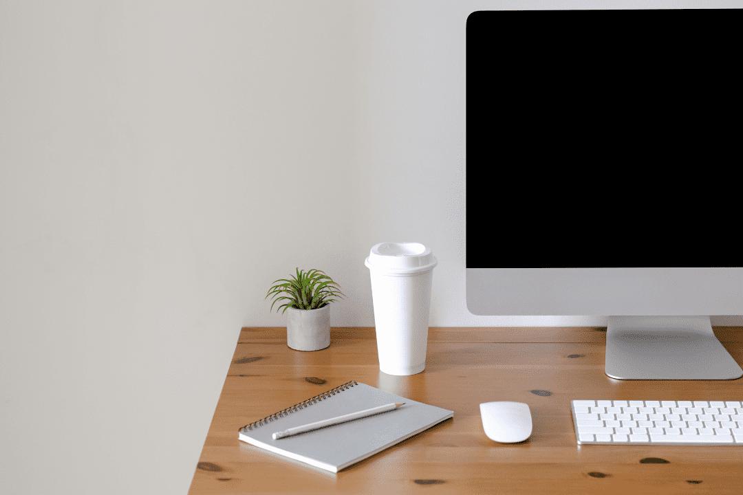 Close up of a home office desk setup
