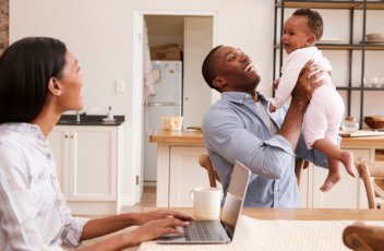 A family working from home