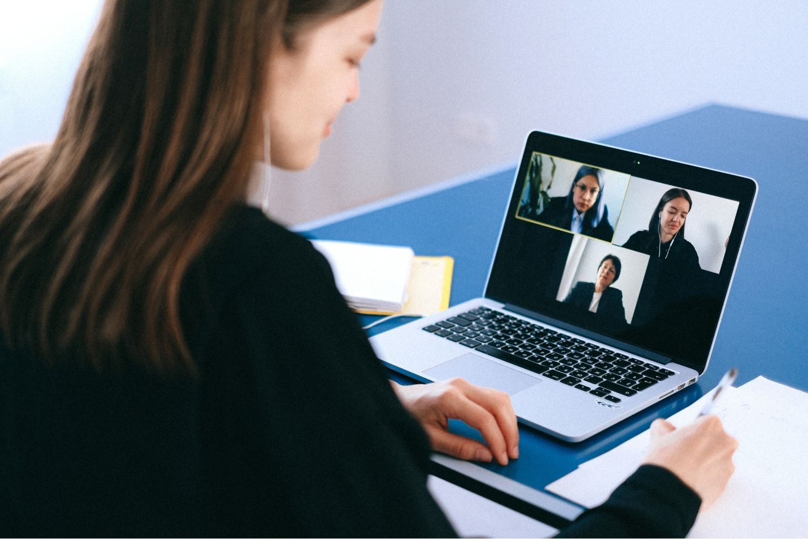 A woman interviewing over video call
