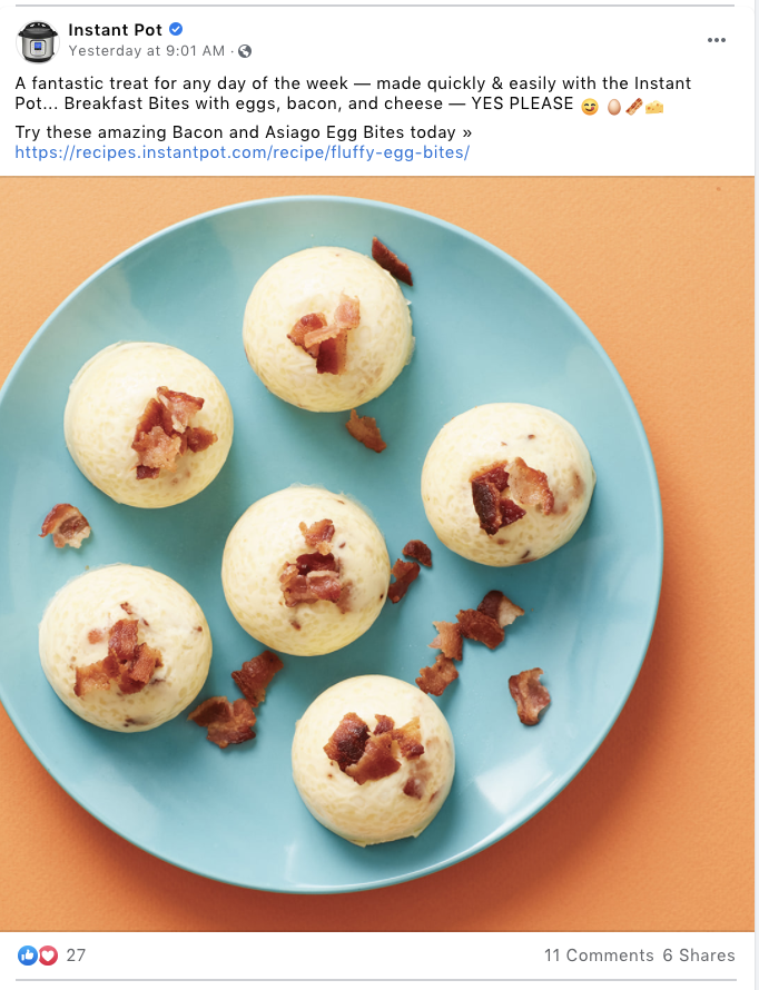 Facebook post of Instant Pot recipe: breakfast bites with eggs, bacon, and cheese