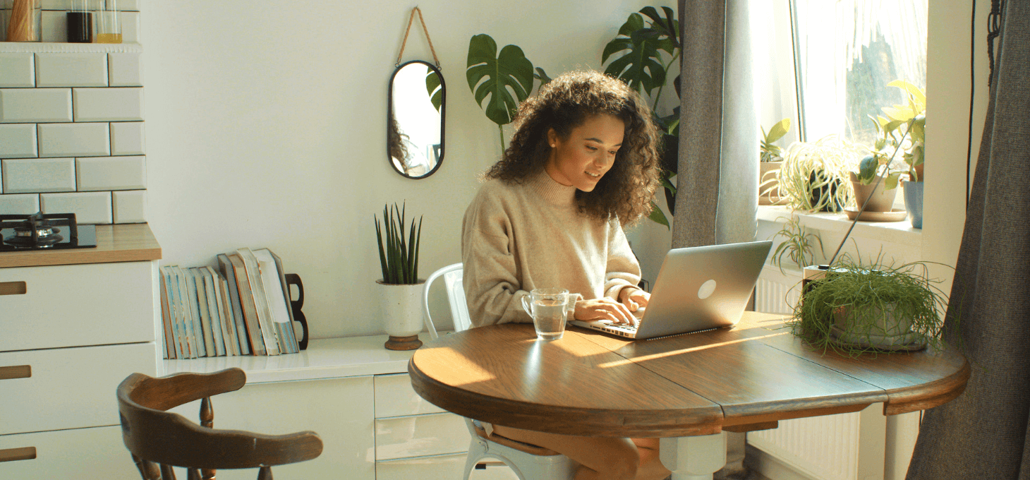 A woman blogging at home