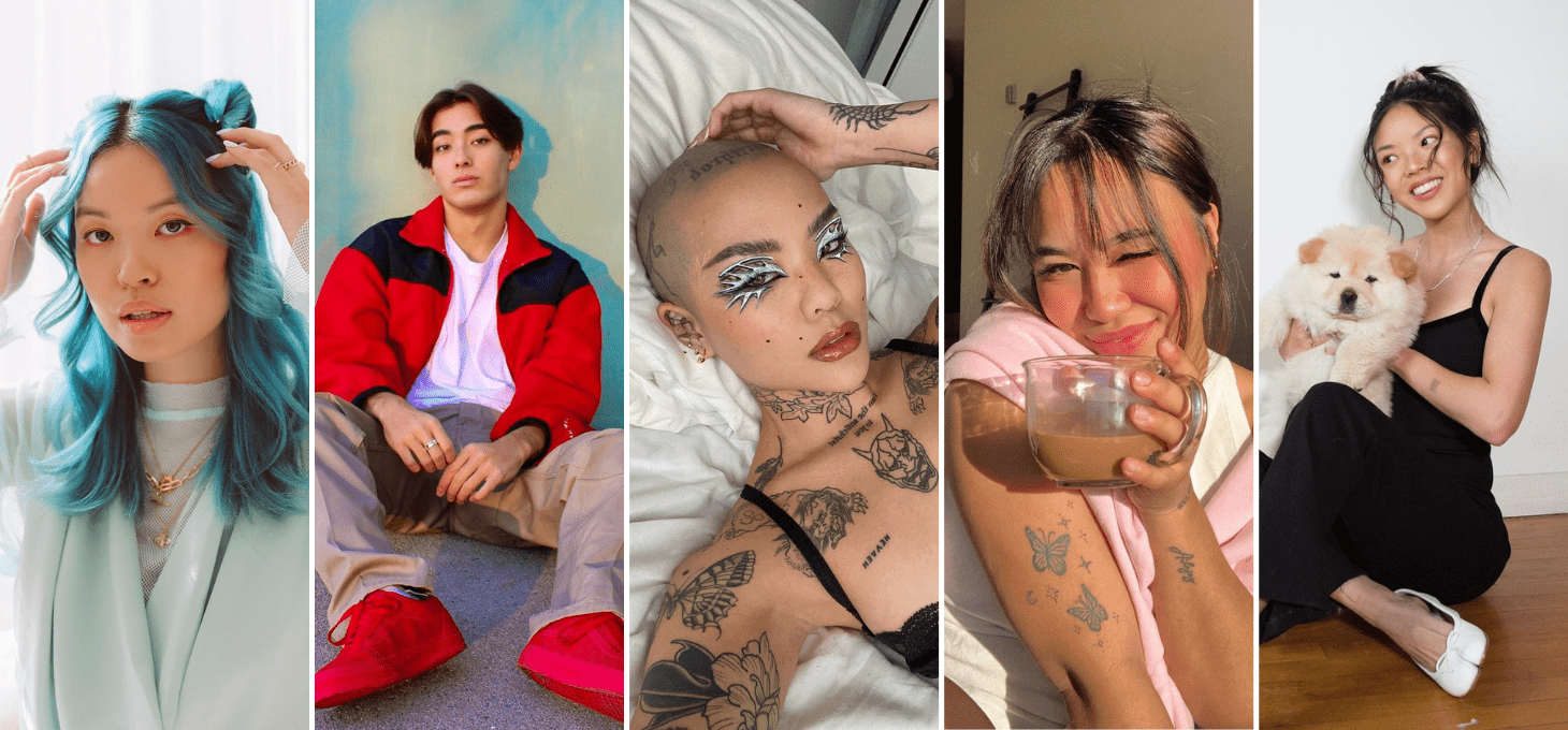 A collage of five Asian influencers