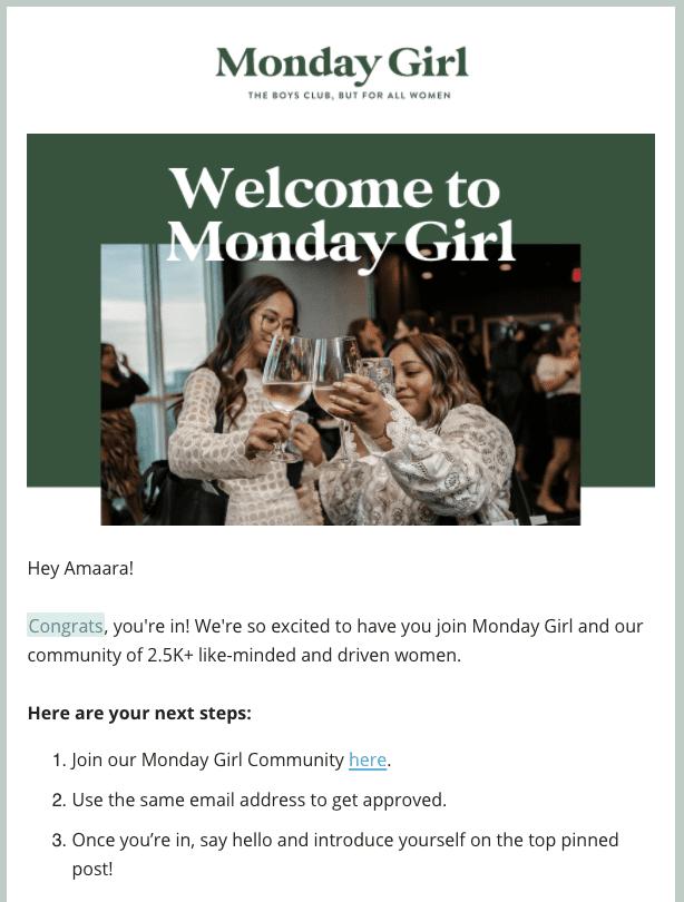 Monday Girl Newsletter invite for Facebook Group