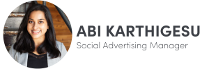 Photo of Abi Karthigesu on left, Social Advertising Manager of The Influence Agency