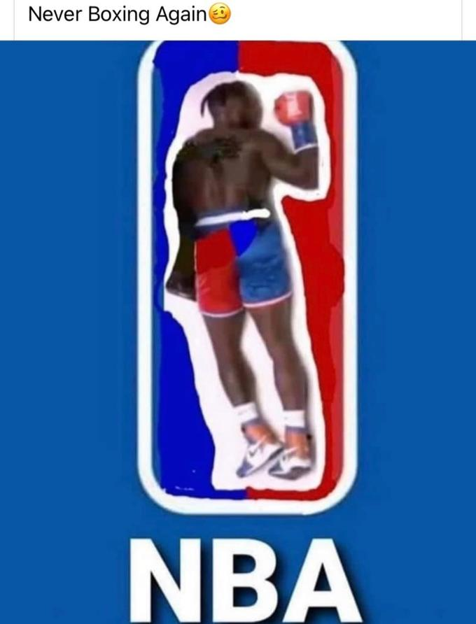 """Photo of Nate Robinson's limp body as the NBA logo. Text says """"Never Boxing Again"""""""