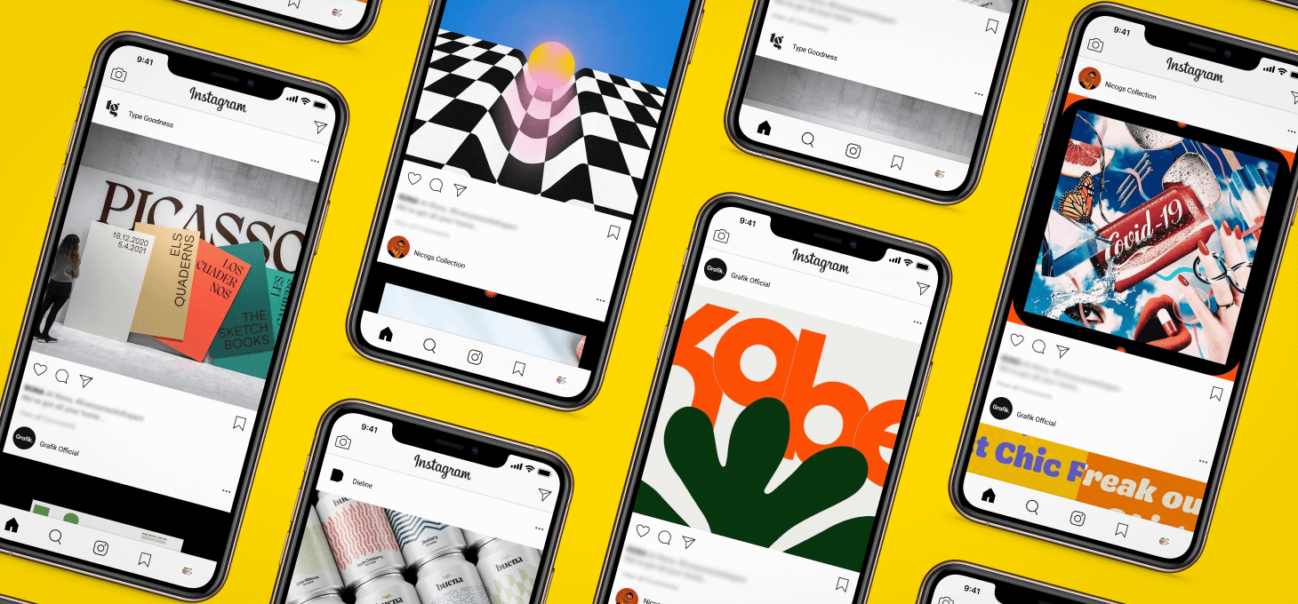 Instagram Feed with graphic design account posts