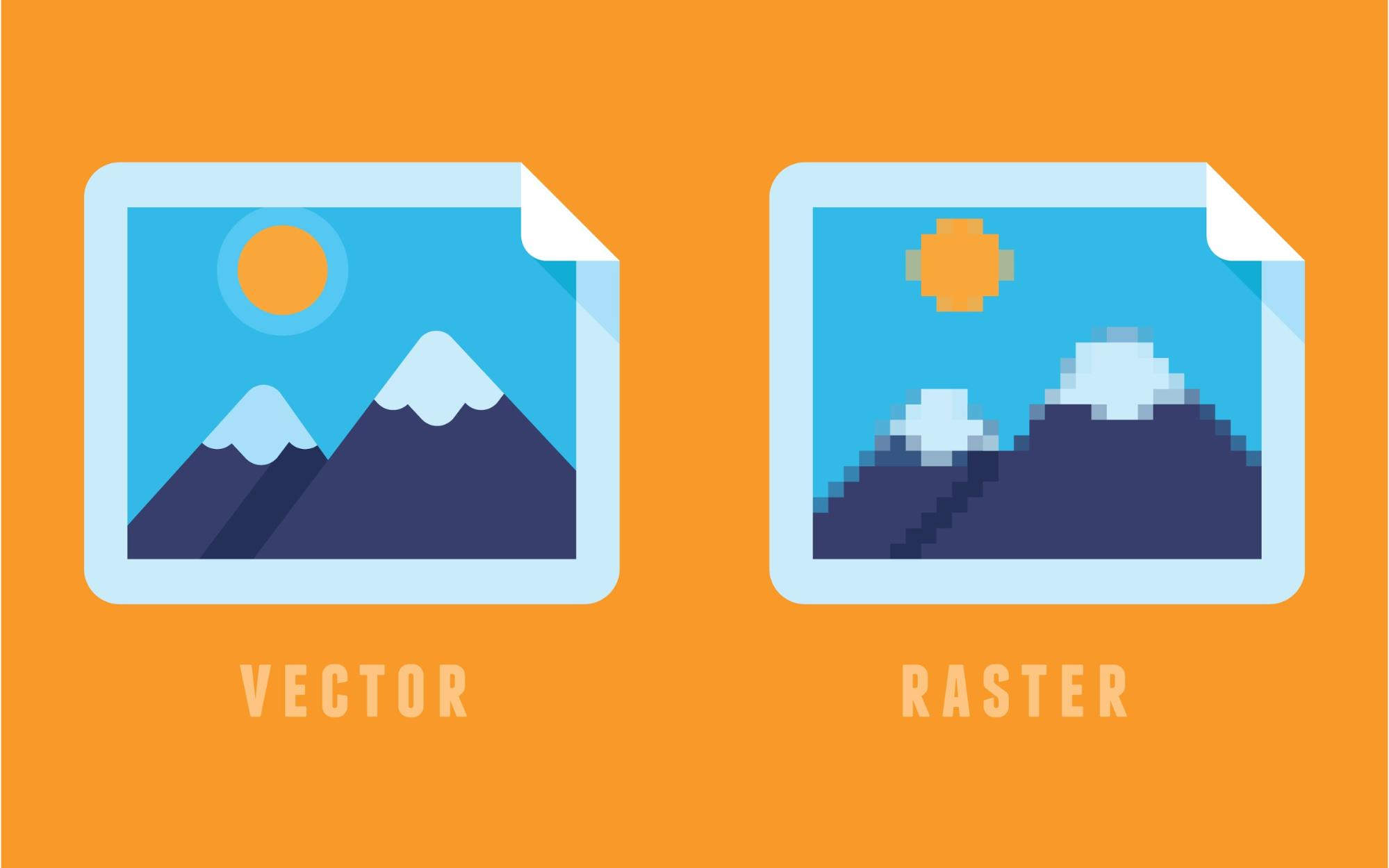 Two graphics side by side, one of a crisp vector image, the other a pixelated raster image
