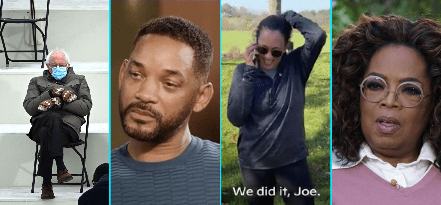 Images of Bernie Sanders with a face mask and mittens sitting in a chair, Will Smith with tears in his eyes, Kamala Harris on the phone, and Oprah Winfrey in shock