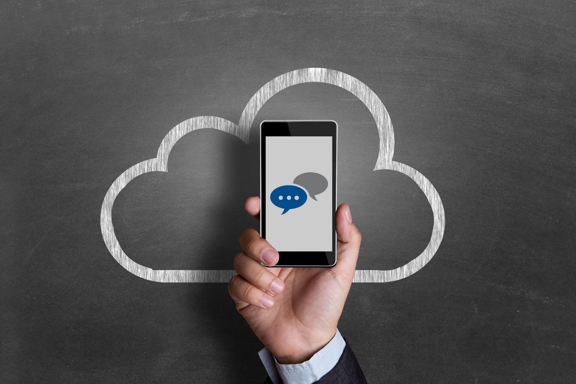 A phone displaying cloud communication icons