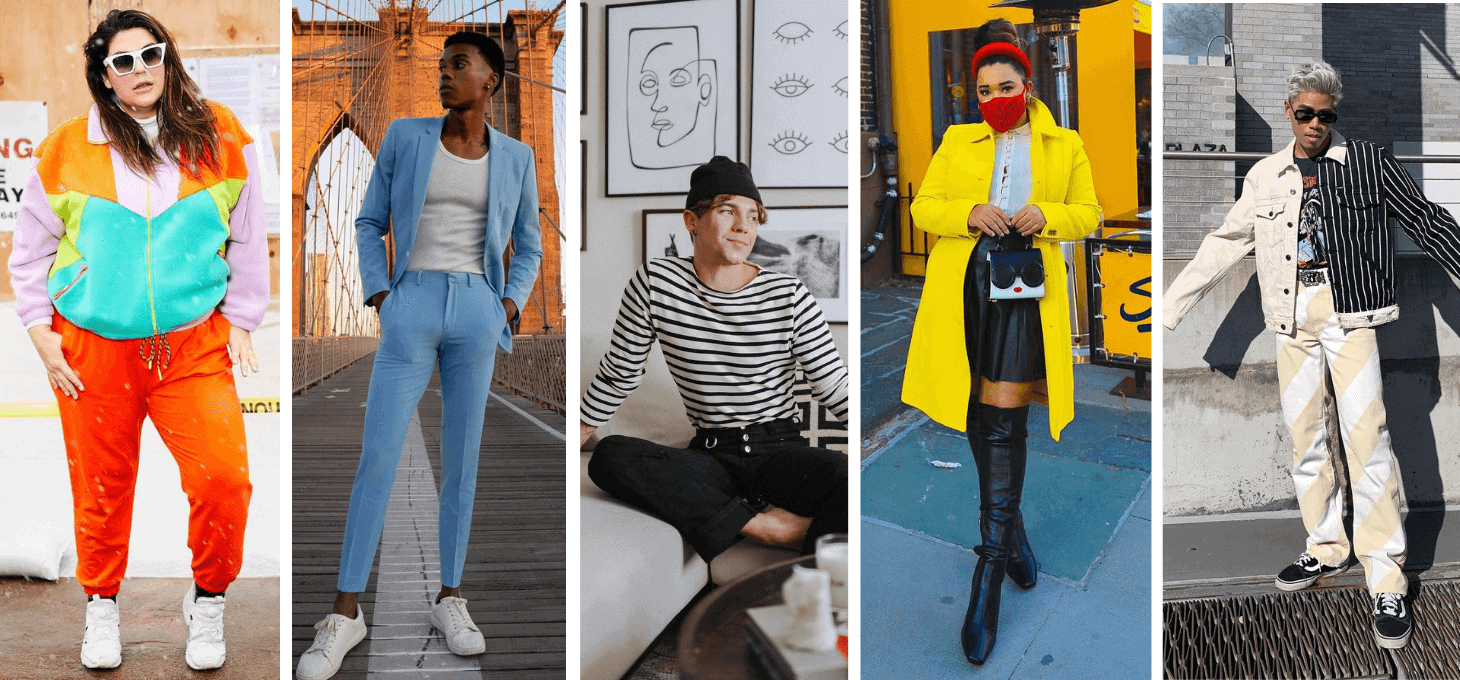 A collage of five New York fashion influencers