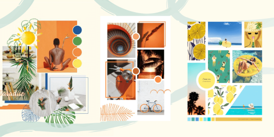 Three examples of moodboards