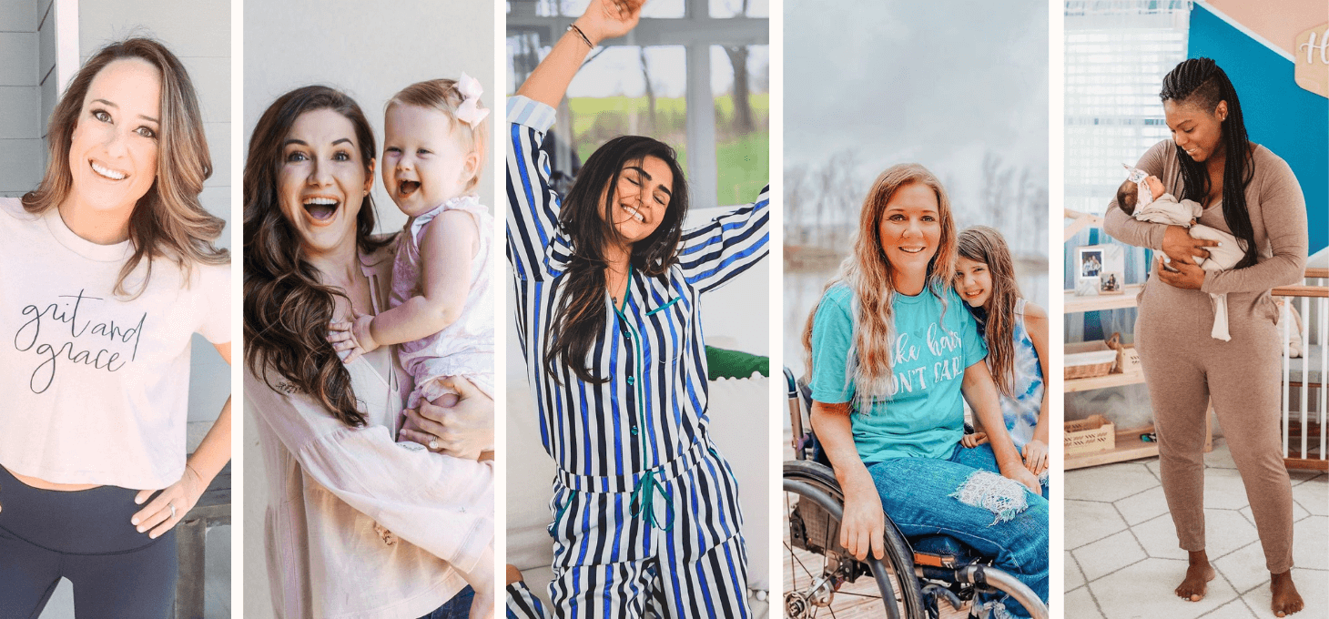 A collage of American mom influencers