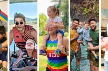 A collage of five LGBTQ+ dad influencers