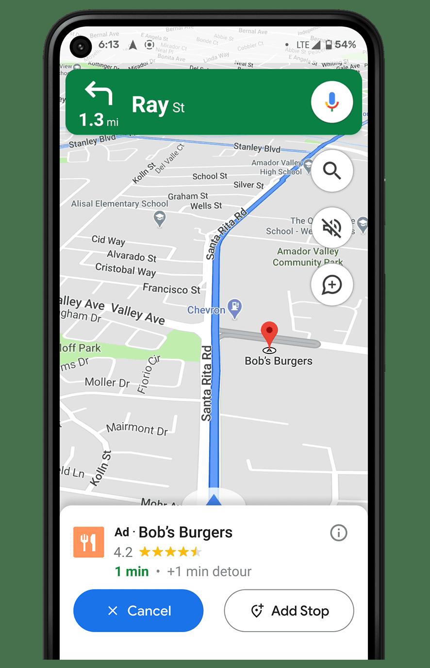 screenshot of navigational ads in Google Maps