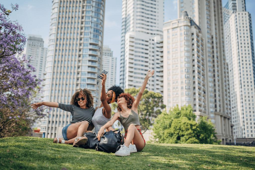 Three women take a selfie together