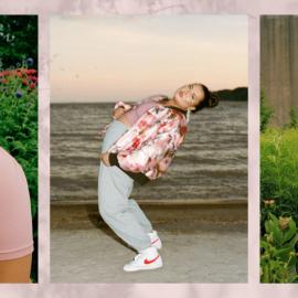 Three images of Lesley Hampton