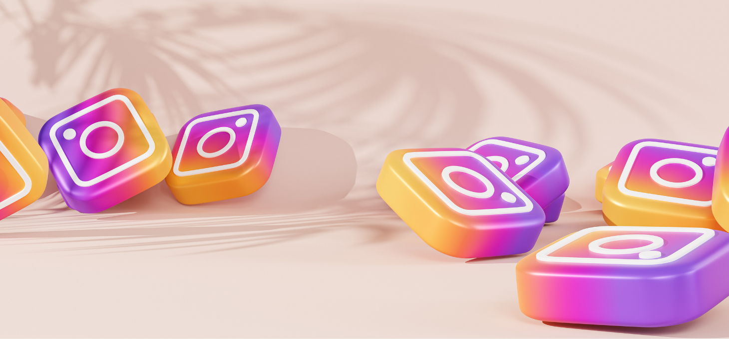 The Instagram logo on a pink backdrop