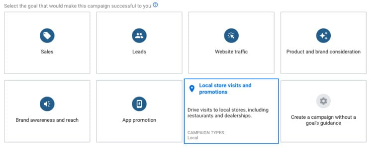 screenshot of available Google Ads campaign goals.