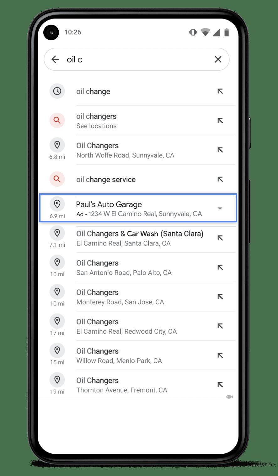screenshot of auto suggest ads in Google Maps