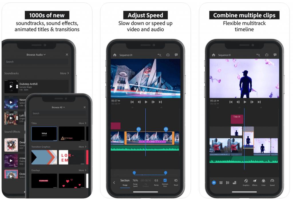 Adobe Premiere Rush editing interface Photo via Apple App Store