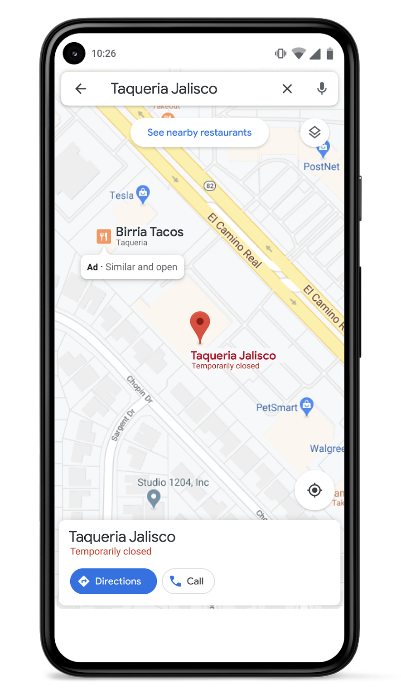 screenshot of similar places ads on Google Maps