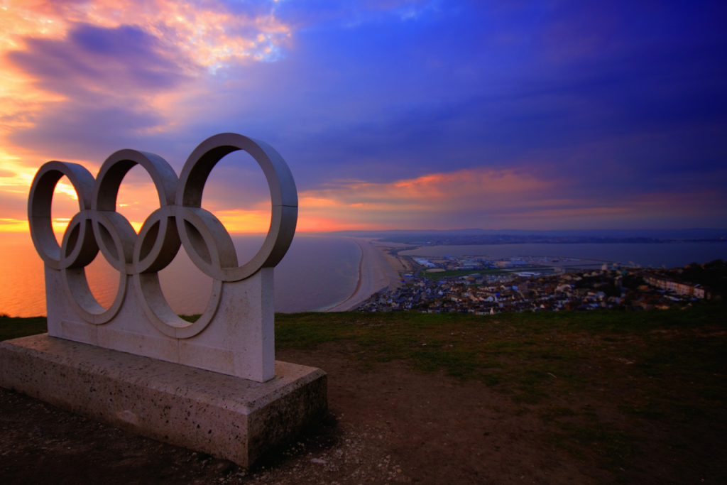 A monument of the Olympic logo