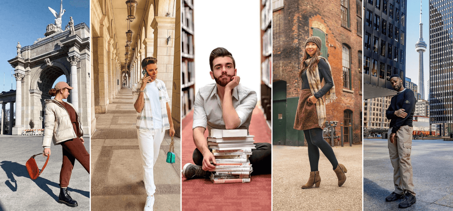 A collage of five influencers at the best Toronto Instagram spots