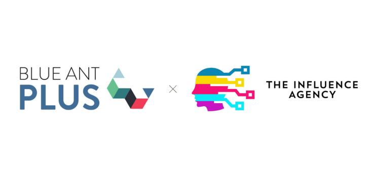 Blue Ant Plus logo next to The Influence Agency logo