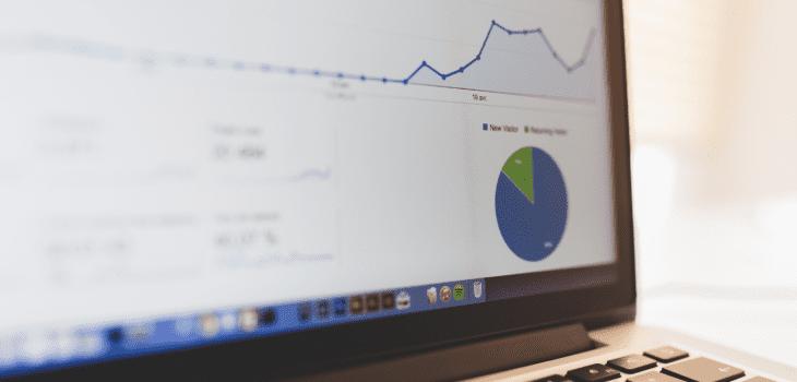 Google Analytics dashboard on laptop.